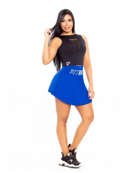 conjunto falda deportivo pitbull azul delantera cd207